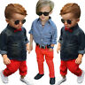 2PCS/Set Kids Toddler Boy Handsome Denim T-shirt Tops+Long Pants Clothes Outfits