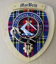 NOS Scottish Clan MacBETH Oak Tartan Plaque Crest Shield
