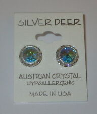 Aurora Boreale Rhinestone Rivoli Earrings 12mm New USA Made Silver Tone