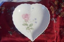 HEART BOWL~ Mikasa Japan Bone China~Trinket Tray~Candy Dish ~PINK ROSE With Love