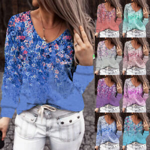 UK Womens Blouse Pullover Long Sleeve Tee Shirt Floral Ombre Loose Ladies Tops