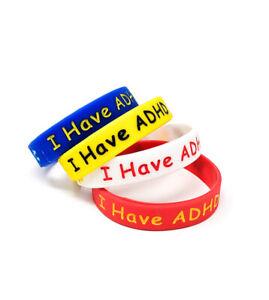 (X1) 'I HAVE ADHD' Awareness Wristbands ADD Medical Alert ASD UK Seller