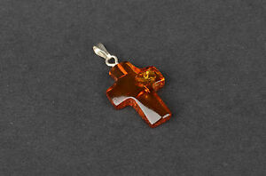 Natural Baltic AMBER Pendant CROSS in any Color You Choose - FREE Shipping