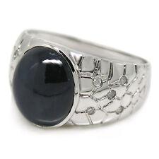 De Buman 10K White Gold Genuine Sapphire & Diamond Men's Ring, Size 9