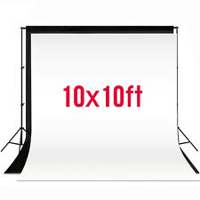 10x10FT Photography Photo Video Studio Backdrop Black White Background Muslin