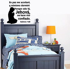 Wall Decal. Inspirational Wall Decal. Christian Home Decor.  Biblia. Salmos 4:8
