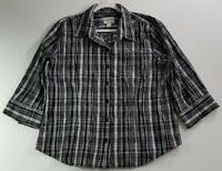 Christopher Banks Women Long Sleeve Button Up Shirt XL Black White Plaid Stretch