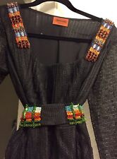 MISSONI Orange Label Beaded Belt Long Sleeve Layered Dress ITALY Sz 46