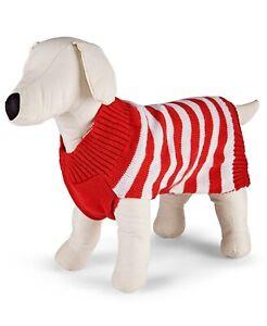 Family Pajamas Dog Pet Sweater, Red/White Stripe