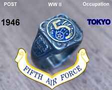 Vintage Rare World War Ii 5th Air Force Sterling Silver Ring Size 10 1946 Tokyo