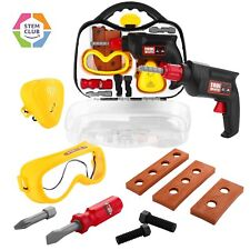 12pc Drill Set Toy Choi's Kids Tool Set Play Construction Tools in Sturdy Case