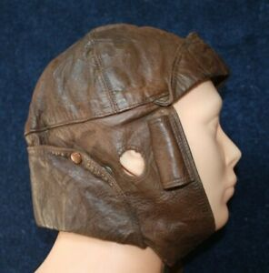 WW1 RFC Leather Flying Helmet in Conker Brown Blanket Lined. Very Good Condition