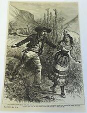 1882 magazine engraving~ THE GOLDEN ARROW-HEAD, Western Cowboy, Native Americans