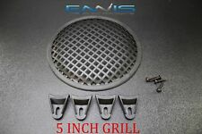 (1) 5 INCH STEEL SPEAKER SUB SUBWOOFER GRILL MESH COVER W/ CLIPS SCREWS GR-5