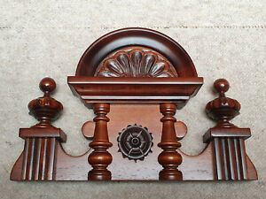 Nice brown clock top / crown for a small Regulator clock   11 inch wide