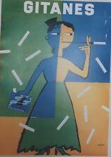 """""""GITANES"""" Affiche originale entoilée  Offset SAVIGNAC 1995  44x60cm"""