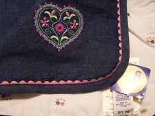 Blue Denim Quilt Recieving Blanket - New w/Tags Gymboree Embroidered Heart