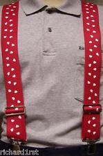 """Suspenders 2""""x48"""" FULLY Elastic Valentine Hearts NEW White on Red"""