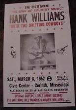 Vintage 50S Hank Williams Concert Poster country art Mississippi Bill Monroe