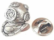 Divers helmet Handcrafted in Solid Pewter In UK Lapel Pin Badge