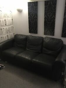3 Seater Black Leather Sofa Used