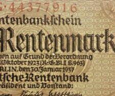 DEUTSCHLAND. GERMANY. 2 Rentenmark 30.1.1937. Ro. 167c. VORZÜGLICH Allemagne