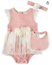 NICOLE MILLER New York Baby Girls 3 Pc Set Outfit Bib Headband Designer 3-6 M