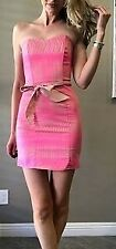 DressNStyle NWOT Sexy H&M Neon Pink & Tan Bodycon Tube Strapless Mini Dress US8