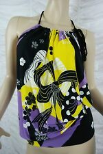 CHARLIE BROWN purple yellow black white floral print halter top size 10 BNWT