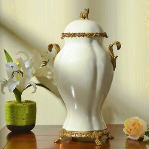 44cm European Style Chinoiserie vase White Chinese Ginger Jar