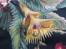 "Vtg Barkcloth Drape Curtain Pillow Fabric Hawaiian Tropical Green Pink Black 38"""
