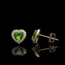 1Ct Heart Peridot Green & Created Diamond Halo Earrings 14K Yellow Gold Studs