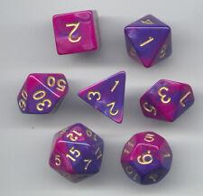 NEW Style ! RPG Dice Set of 7 - Twisted Blue-Purple D4 D6 D8 D10 D12 D20 D00-90