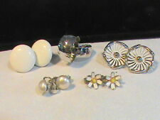 Vintage Earrings Marvella, Bergere, Flower, Button and Twirl design Lot of 5