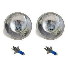 "7"" Halogen Semi Sealed Beam Stock Headlight Head Lamp White H4 Bulbs 60/55W Pair"