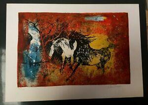Hoi Han LEBADANG - Lithographie chevaux 39/3.. signée par l'artiste