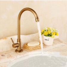 Antique Vintage Brass Bath/Kitchen Sink Faucet Swivel Single Handle Tap Home/Bar