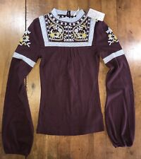 NWT Free People Embroidered Plum Top Stretch Shirt L/S High Neck Beaded Size XS