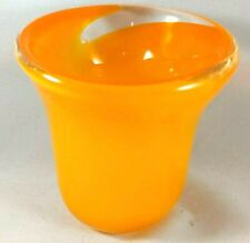 "4"" Hand Blown Glass Tea Light Votive Candle Holder Orange Swirl Heavy"