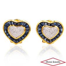 Estate Diamond 4.90ct Sapphire 14K Gold Heart Omega Back Earrings 9.1 Grams NR
