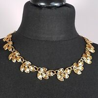 VINTAGE Napier Leaf Link Gold Tone Necklace Collar Length Retro Kitsch Ivy Plant
