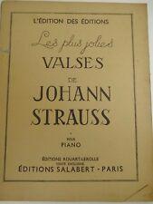 LES PLUS JOLIES VALSES DE STRAUSS 88 PAGES PIANO SALABERT