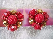 VINTAGE 1960s RED & AB FACETED PLASTIC BEAD CLUSTER HUGGIE CLIP-ON EARRINGS