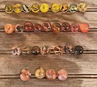 Vintage Lot of 29 Marbles Orange & Gold Caged Cat's Eye Assorted Sizes