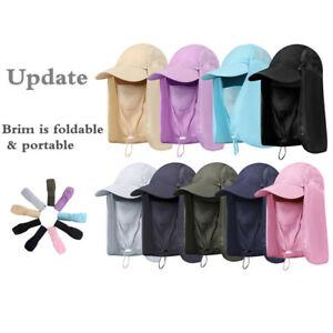 Folding Outdoor Sun Hat Fishing Cap Men Women 360°UV Protection Face Mask Hiking