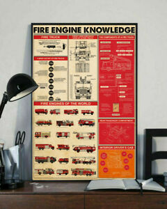 Fire Engine Knowledge Home Decor Wall Art Firefighter Poster