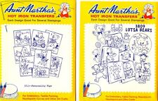 2 Aunt Marthas Hot Iron Embroidery Transfers Personality Pigs & Lotsa Bears