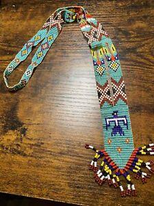 LARGE Vtg Sead Beaded Native American Necklace Southwestern Thunderbird.  hippie