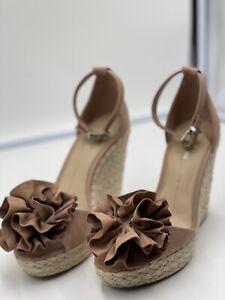 Gianni Bini Blush Bow  Suede Women Jute Padded Wedges - Size: US 8M