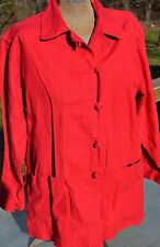 Size S Susan Bristol Linen Cotten Blend Coat Jacket EUC Apple Red Long Sleeve